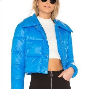 Lovers + friends cropped puffer jacket